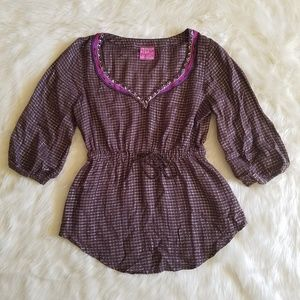 Free People Embroidered and Embellished Boho Top S
